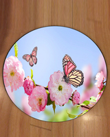 Else Blue Sky Pink Flowers Butterfly Flowers 3d Pattern Print Anti Slip Back Round Carpets Area Rug For Living Rooms Bathroom