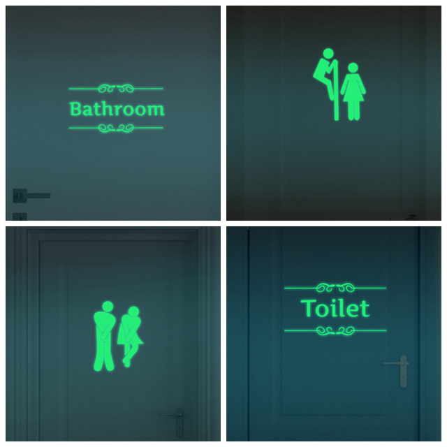Creative Luminous Wall Stickers Bathroom Decoration Toilet Door Vinyl Wall  Art Decals Glow In The Dark