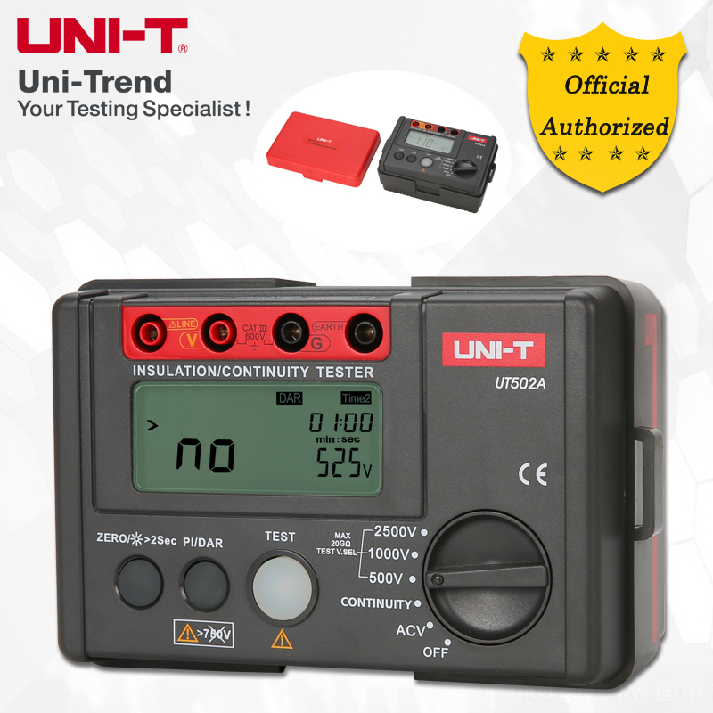 UNI-T UT502A Testeur D'isolement; 2500 v Mégohmmètre Numérique, Lumière/Buzzer Alarme, Sur Indication De Charge, automatique Décharge