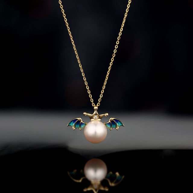 LP Solid Diamond Pearl-Jewelry 18k Yellow Gold 8mm Natural Freshwater Pearl & Diamond & Blue Angel Wing  Pendant For Women's