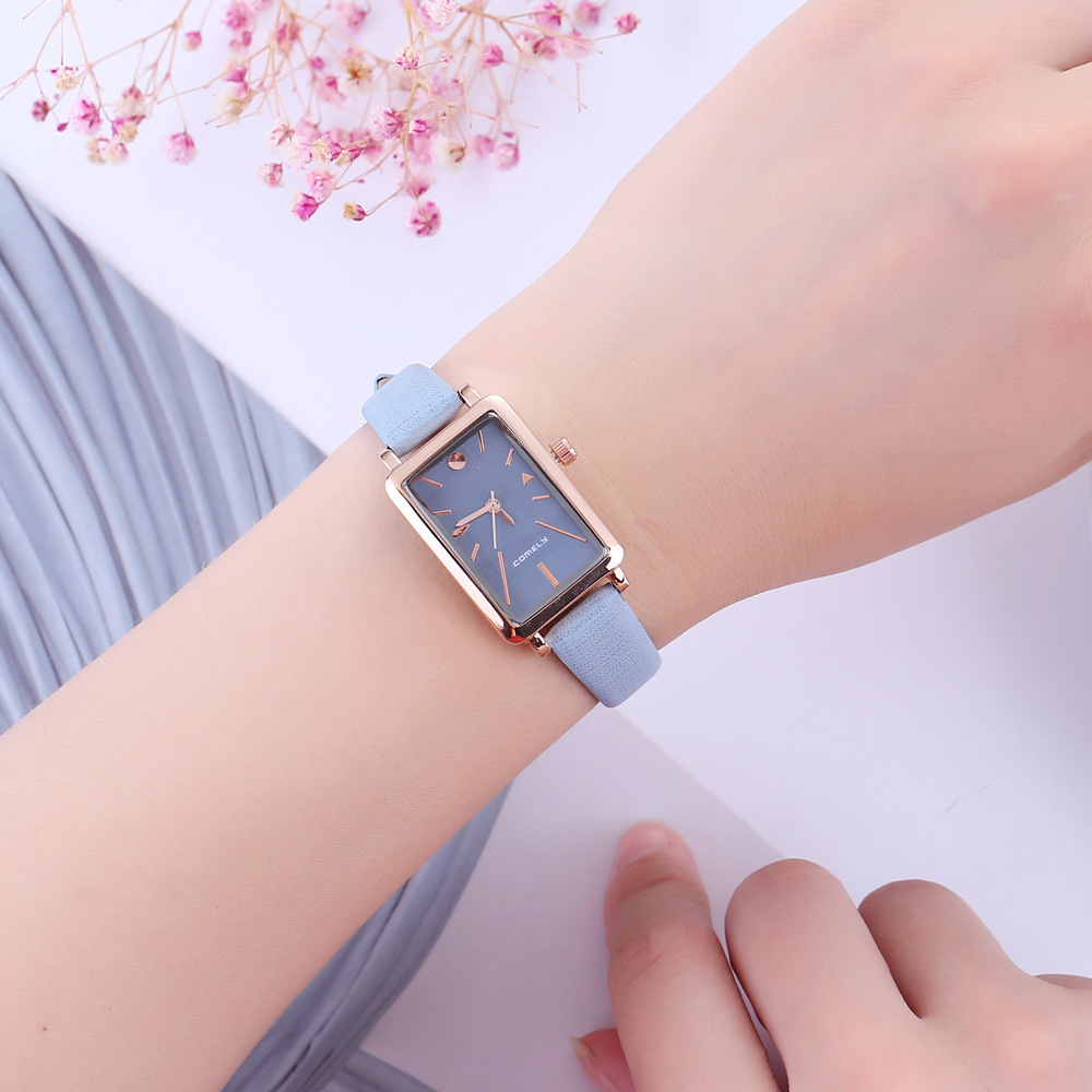 Women's Watch Fashion Japan Movement Wristwatch Rectangular Case Analog Dial Genuine Leather Strap Quartz Watch Gifts Relogios