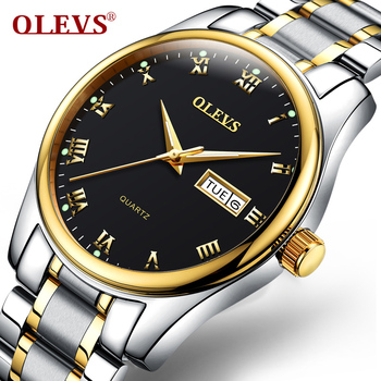 OLEVS Men's Water Resistant Stainless Steel Date Clock Quartz Watches
