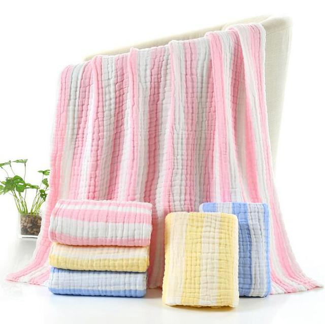 105x105cm 100 cotton soft pink blue yellow striped 6 layer gauze