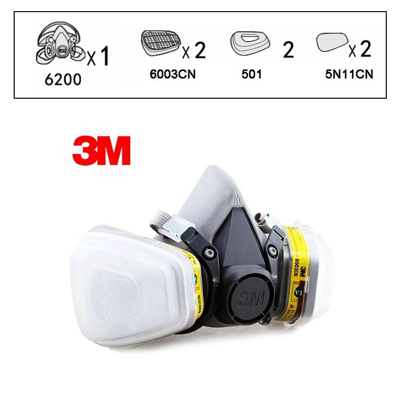 3 M 6200 + 6003 demi masque respiratoire réutilisable masque organique acide masque facial vapeur organique et gaz acide 7 articles pour 1 Set LT101