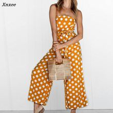 hot deal buy women sexy fashion polka dot print jumpsuits sleeveless sashes lace-up rompers loose femme casual straps summer long trousers