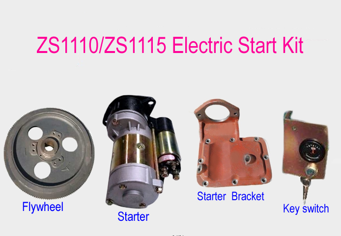 Electric Start Rebuild Kit(flywheel+starter+bracket+key switch)for ZS1110/ZS1115 4 Stroke Small Water Cooled Diesel Engine электроинструмент rebir tru 870 13er