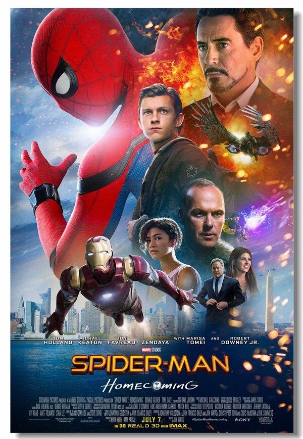 Custom Canvas Wall Murals Marvel Avengers Spider-man Poster Spider-man Sticker Dining Room Wallpaper Bar Cafe Decorations #0118#
