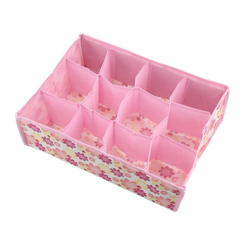 12 Grid Underwear Bra Organizer Storage Box Colors Rose Drawer Closet Organizers Boxes For Underwear Scarfs Socks Bra