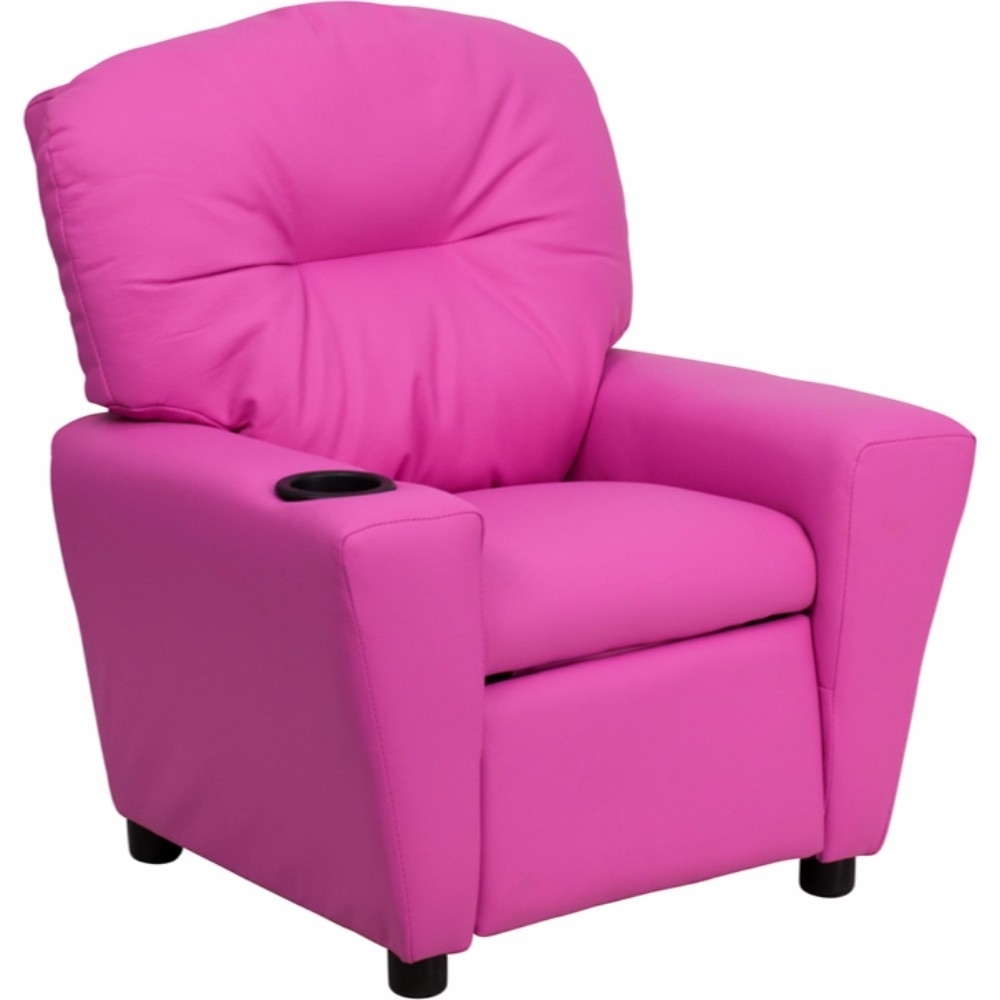 Flash Furniture <font><b>Contemporary</b></font> <font><b>Hot</b></font> <font><b>Pink</b></font> <font><b>Vinyl</b></font> <font><b>Kids</b></font> <font><b>Recliner</b></font> <font><b>with</b></font> <font><b>Cup</b></font> Holder [863-BT-7950-<font><b>KID</b></font>-<font><b>HOT</b></font>-<font><b>PINK</b></font>-GG]