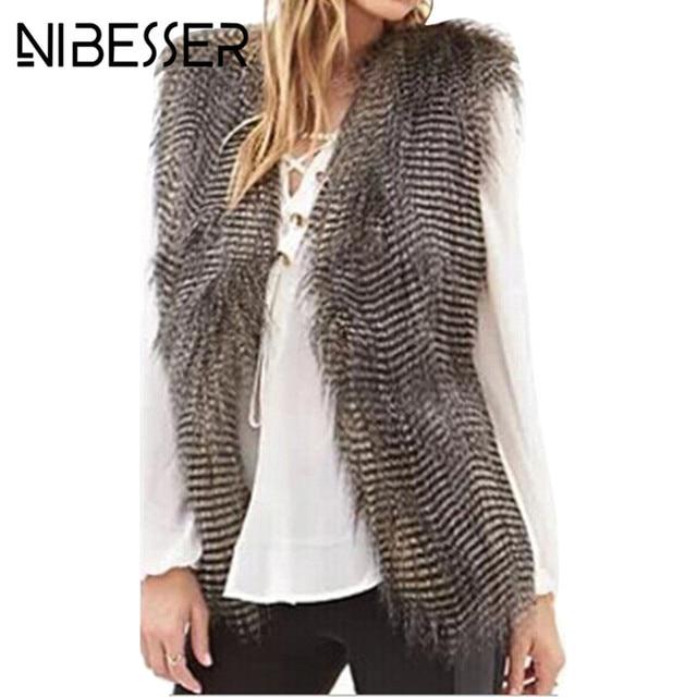 94e69779cc416 NIBESSER Femmes Sans Manches Veste Manteaux De Mode D hiver Chaud Faux Paon  Plume Couleur