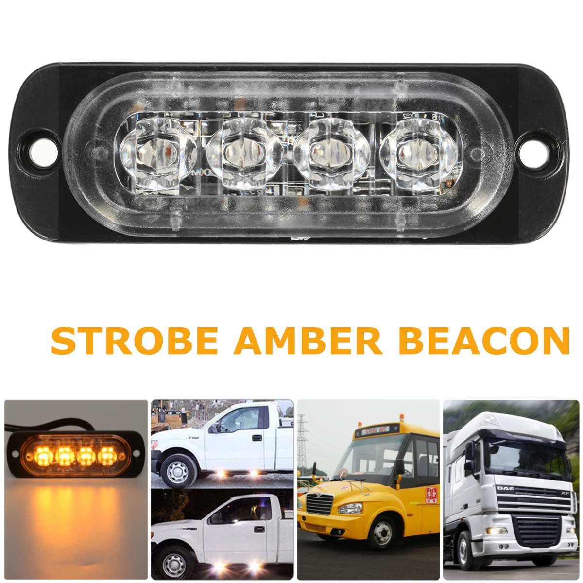 4 LED Car Flash Truck Emergency Beacon Warning Light Bar Hazard Strobe Amber 1pcs car emergency warning hazard light led flashing beacon strobe light for truck boat car