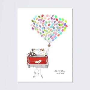 Бесплатная пользовательская именная Дата Свадебная Гостевая книга свадебный автомобиль холст печать отпечаток пальца Гостевая книга Сдел...