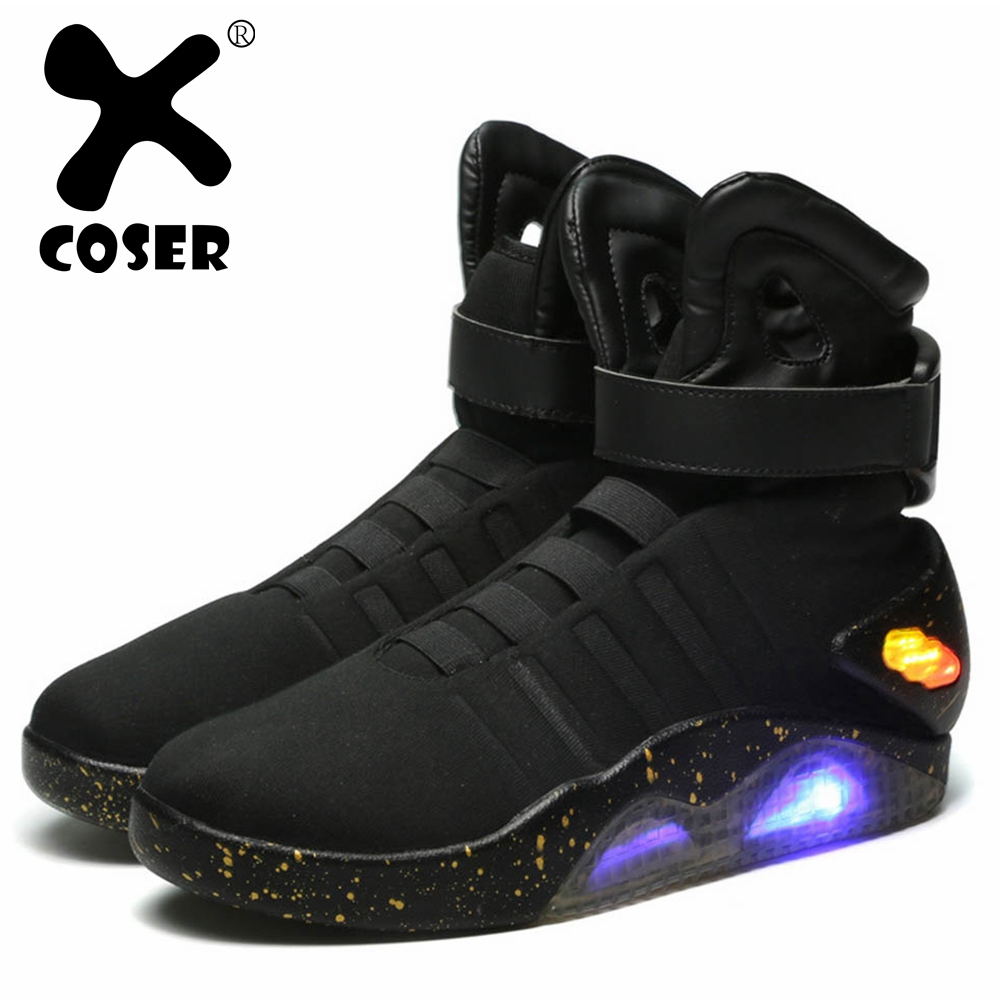 XCOSER Japanese Anime Back to the Future Marty McFly Shoes Light Up Mens Sneakers Sport Shoes Cosplay Costume Accessory For Men