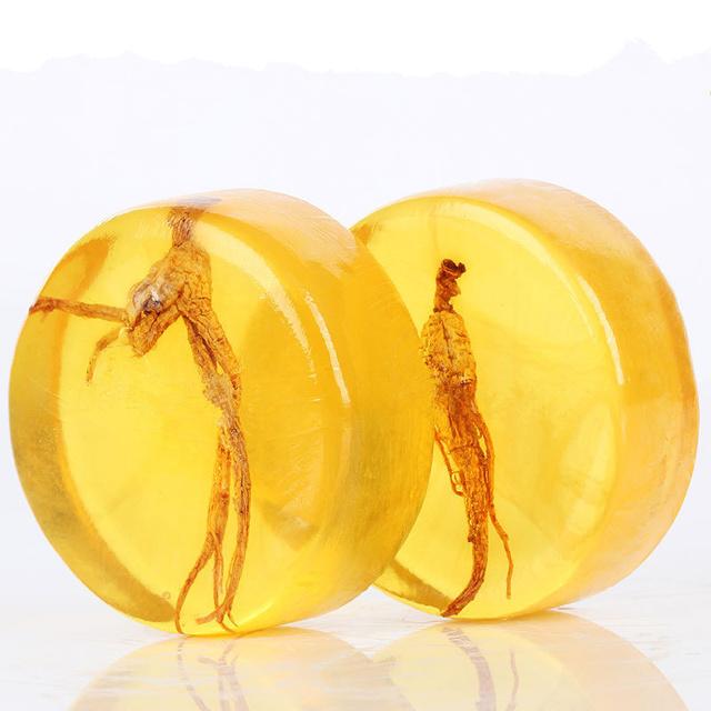 1PC Ginseng Handmade Soap Chinese Herb Honey Kojic Acid Soap Whitening Shrink Pores Body Face Skin Care Moisturizing 100g