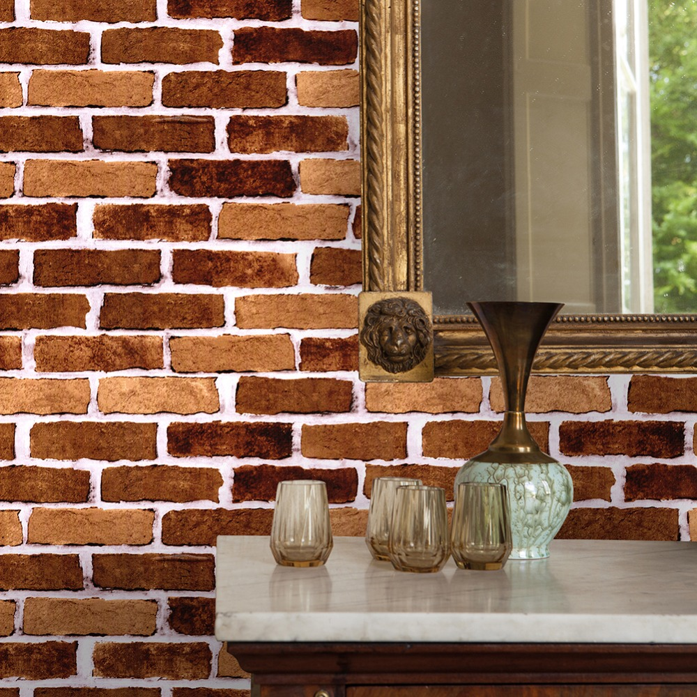 Haokhome Modern 3d Brick Stone Wallpaper Orange Self Adhesive Peel Stick Contact Paper Living Room Kitchen Home Wall Decoration Buy At The Price Of 29 90 In Aliexpress Com Imall Com