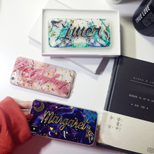 Per Samsung Galaxy S7 S8 S9 S10 Nota 8 9 10 di Lusso Unico Nome Personalizzato Lettera Bling di Scintillio Morbido Marmo Fiocco di Telefono della Copertura Della Cassa