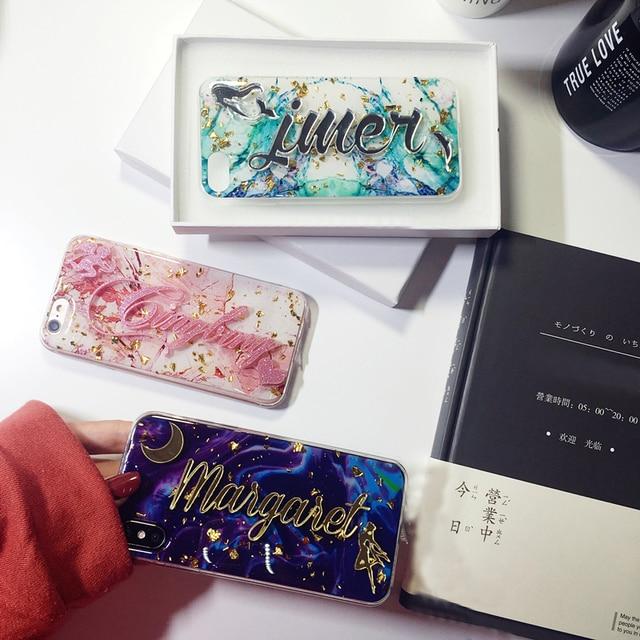 Voor Samsung Galaxy S7 S8 S9 S10 Note 8 9 10 Luxe Unieke Custom Naam Brief Bling Glitter Soft Marmer Vlok Telefoon case Cover