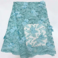 Fashionable Beaded 3d Applique Embroidered French Lace Fabric Turquoise Blue Nigeria Wedding Dress Net Lace X651 2