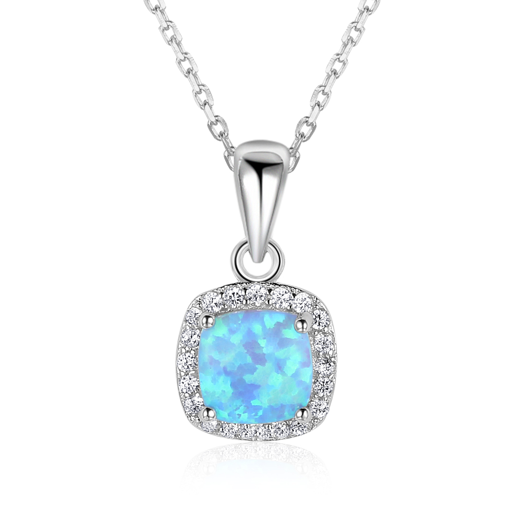 Classic Square Blue Opal Real 925 Sterling Silver Necklace Zirconia Pendants Necklaces for Women Fine Jewelry for Party Love