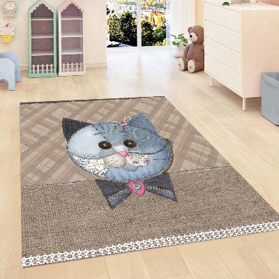 Else Brown Geometric Jeans Effect Funny Blue Cat 3d Print Non Slip Microfiber Children Kids Room Decorative Area Rug Mat