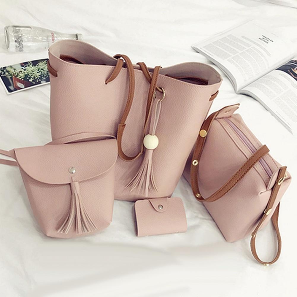 4Pcs/Set Women Faux Leather Handbag Shoulder Bag Tote Purse Messenger Handbag