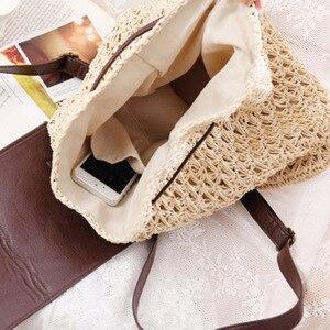 Image 3 - Женский соломенный рюкзак на шнурке, модная пляжная популярная сумка на лето, большой дорожный ранец BP3002
