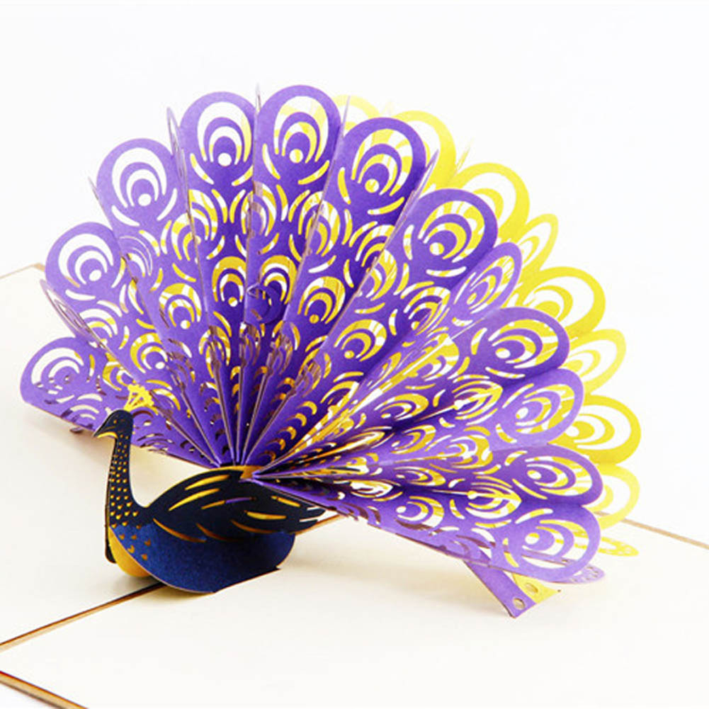 3D Pop Up Birthday/Thank You/Greeting Cards School Supplies Gift Postcards Vintage Paper Laser Cut Peacock Customize Invitations