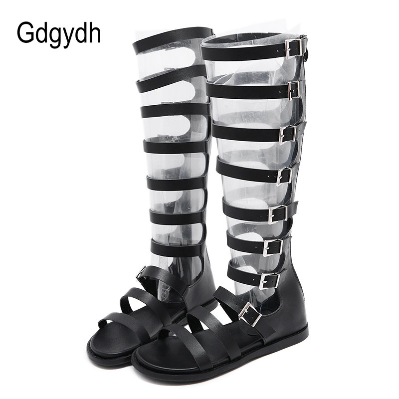 Gdgydh Summer Boots Woman Gladiator Shoes Woman Rome Style Peep Toe Women Over the Knee Boots Flat Heel Zipper Black Gothic 2019Gdgydh Summer Boots Woman Gladiator Shoes Woman Rome Style Peep Toe Women Over the Knee Boots Flat Heel Zipper Black Gothic 2019