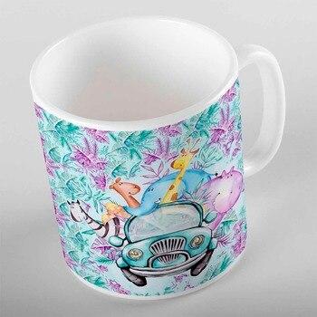 Taza de café de oso de té de agua potable de cerámica con estampado en 3d de animales divertidos del coche de hoja verde púrpura Tropical cocina