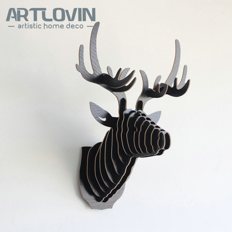 Nordic Modern Simple Wood Crafts DIY Deer Head Europe Characteristic House Decoration Miniature Animal Figurines for Home Decor