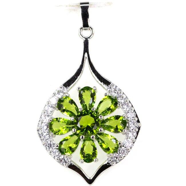 Elegant Flower Shape Green Peridot White CZ Woman's 925 Silver Pendant 41x23mm