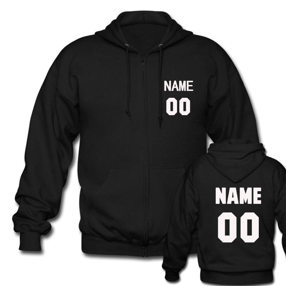 Пользовательские персонализированные имя и номер Толстовка мужская черная молния толстовки