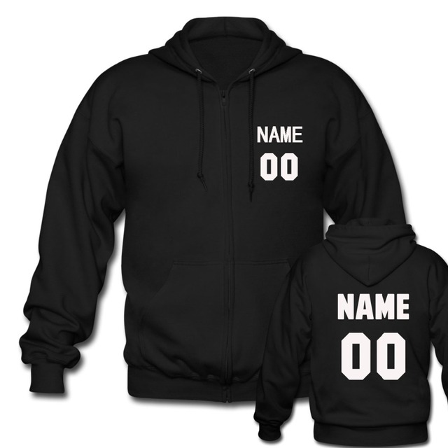 2e65123178bc Custom Personalized Name and Number Hoodie Men s Black Zipper Hoodies