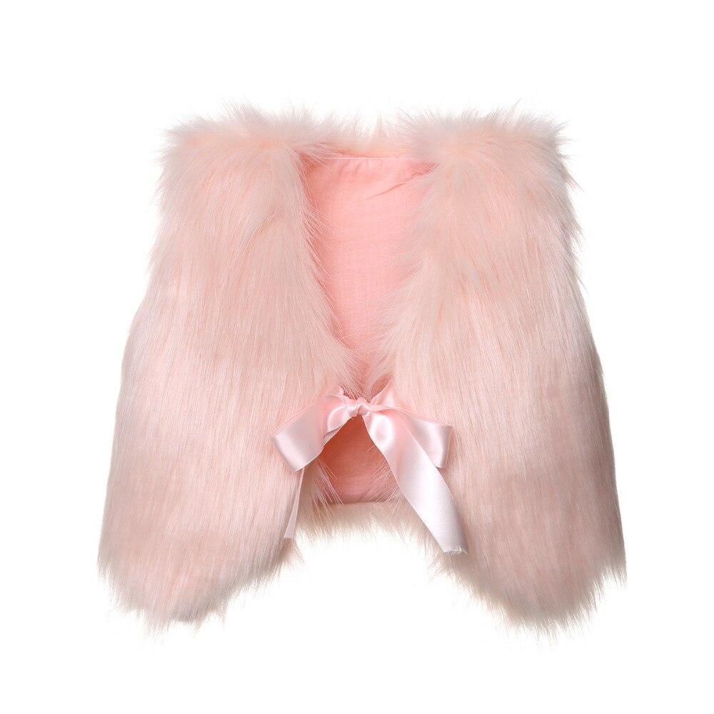 NEW Girls Faux Fur Vest Size 6-6X White Winter Sleeveless Dressy Top Soft Pocket