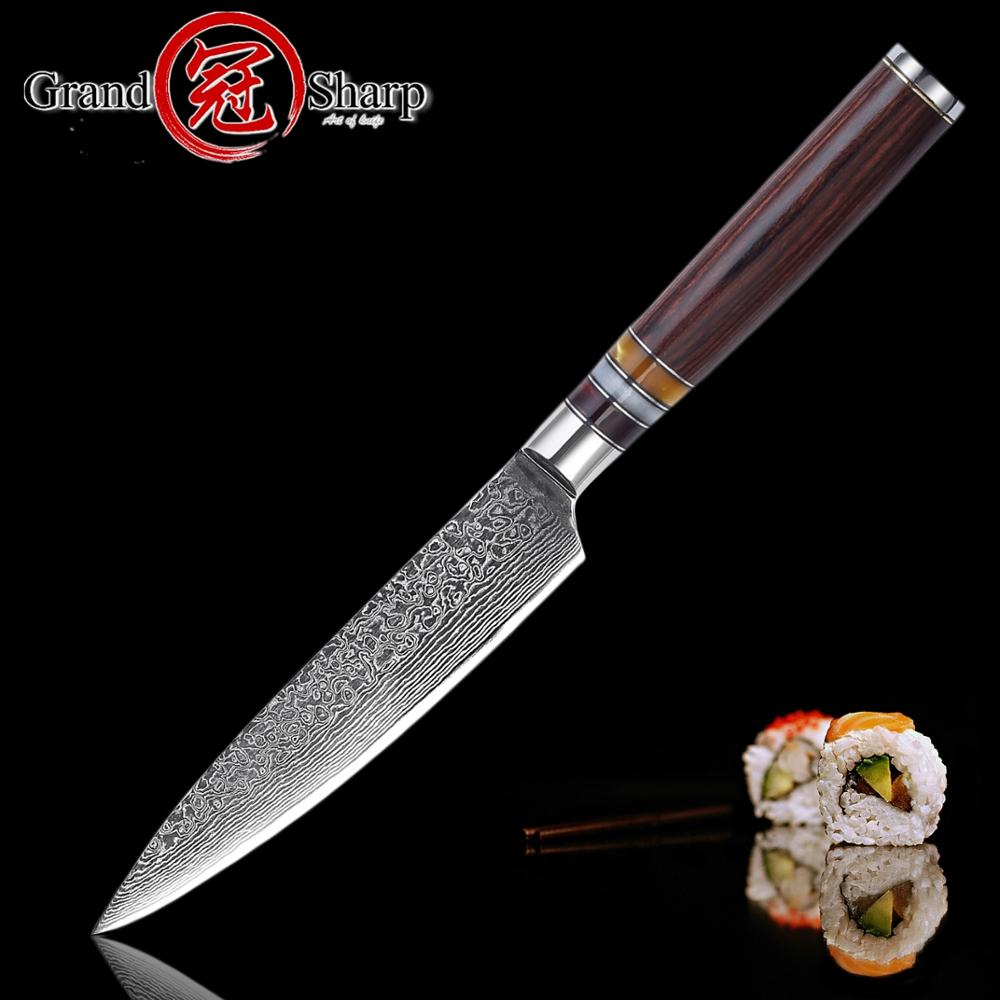High quality 5.3 Inch Utility Knife Damascus Kitchen knife Japanese Knives VG10 Damascus steel BBQ Tools Camping Outdoor Tools image