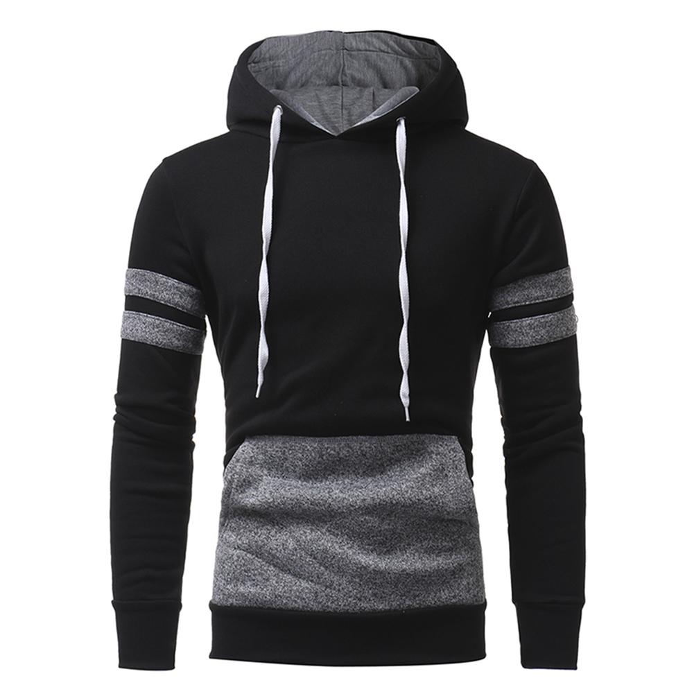 Fashion Men Casual Slim Fit Color Blocking Hoodie Sweatshirt Pullover Outwear