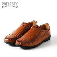 Prelesty Men Leather Flats Shoes Autumn Winter Men S Boat Shoe Black Brown Casual Loafers Elegant