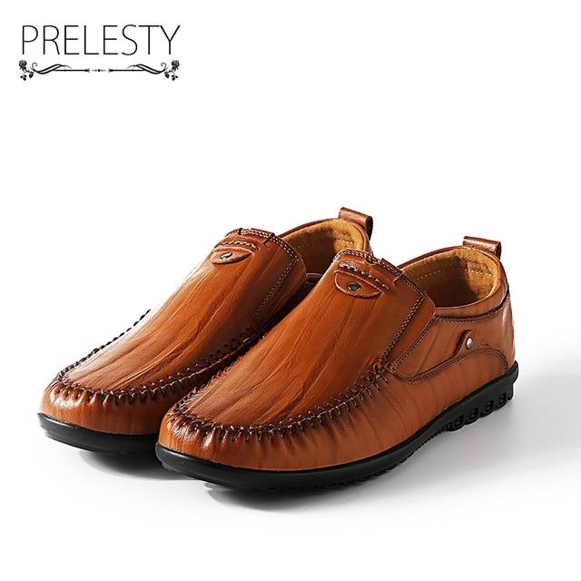 Prelesty Hombres Pisos Zapatos de Cuero de Zapato del Barco de los Hombres Del Invierno Del Otoño Negro Marrón Casual Mocasín Mocasines Elegantes Ocio Calzado