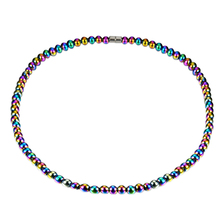Men's Women's Rainbow Magnetic Artificial Hematite Round Beaded Necklace Jewelry