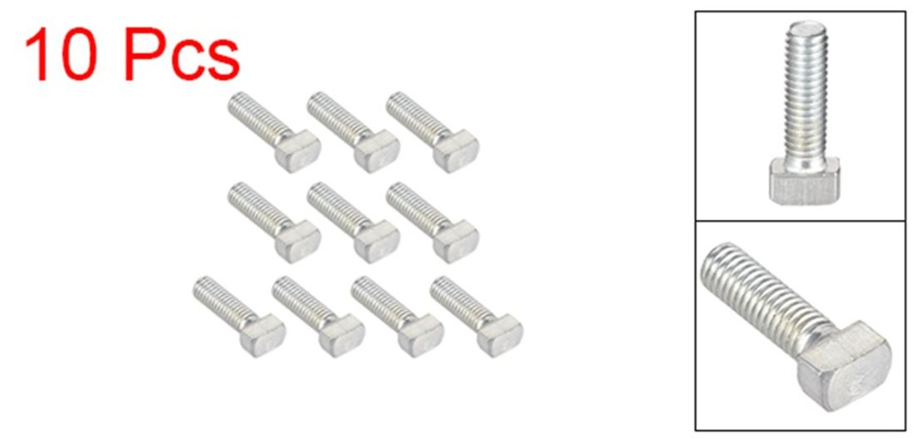 UXCELL 10Pcs M6 Thread 16mm T Slot Drop In Stud Screw Bolt Carbon Steel 30 Series For Aluminum Alloy Rack Assembly Clamping in Bolts from Home Improvement