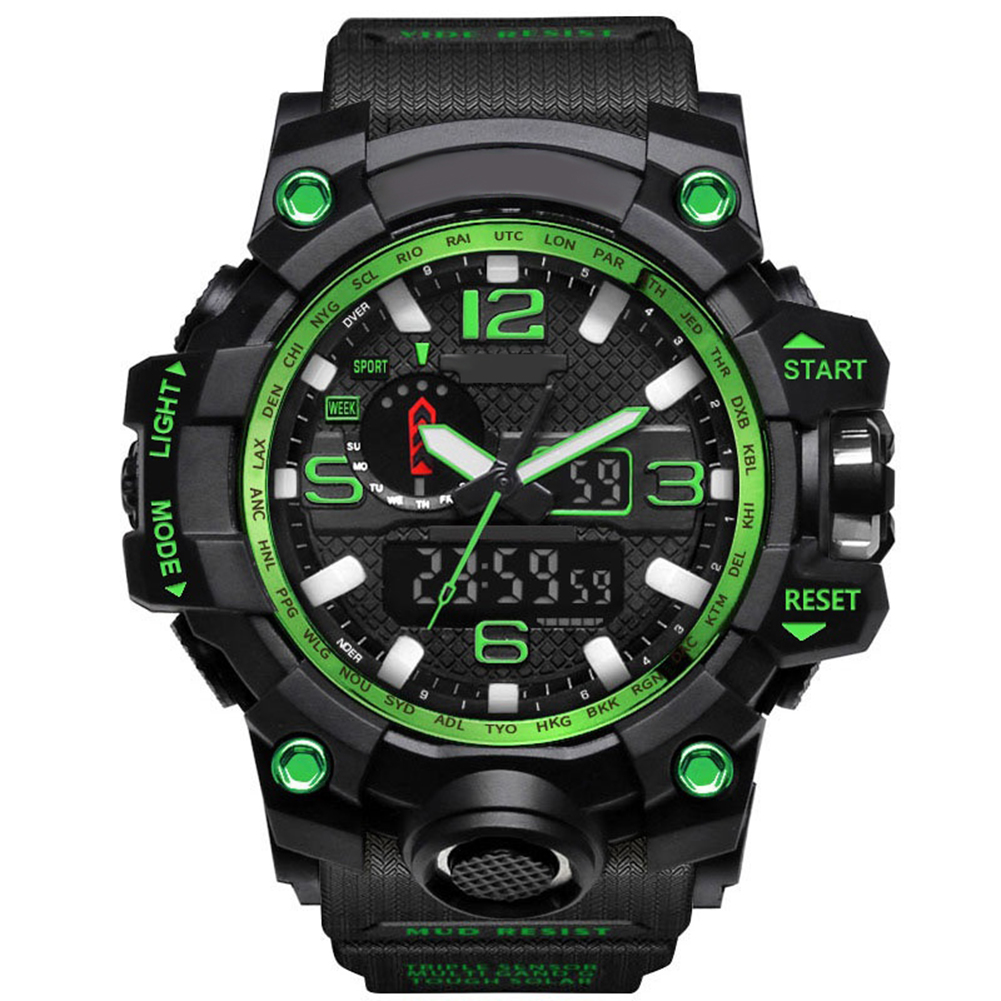 Men Analog LED Digital Quartz Watch Dual Display Waterproof Sport Wrist Watch hoska hd030b children quartz digital watch