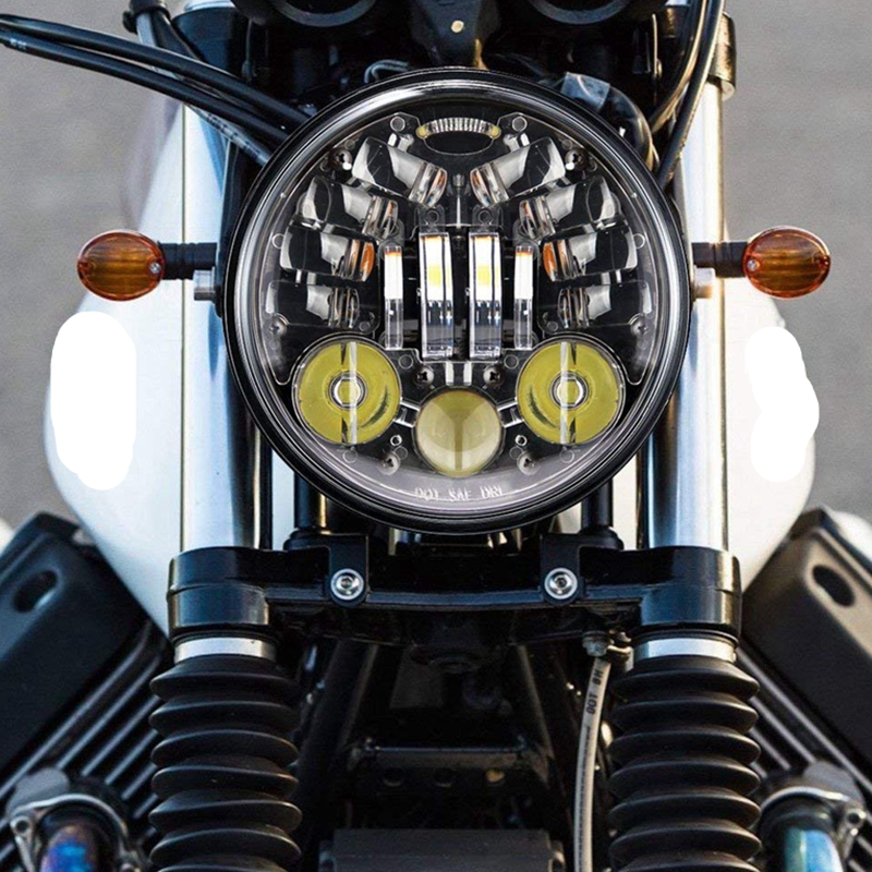 Wzjoo Motorcycle 5 3/4 5.75 LED Headlight DRL Amber Turn Signal Light For 883, Sportster,Wide Glide ,Softail ,Bad Boy