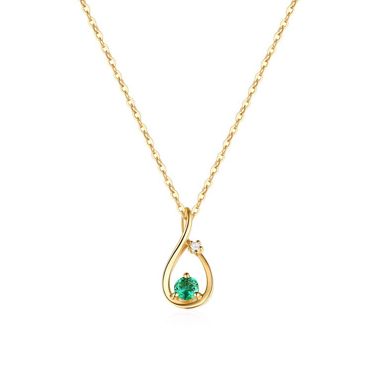 Simple 14K Gold Necklace Pendant Emerald Droplet Pendant Female Pendant Hollow Pendant stylish 7 hollow stereo circles pendant necklace