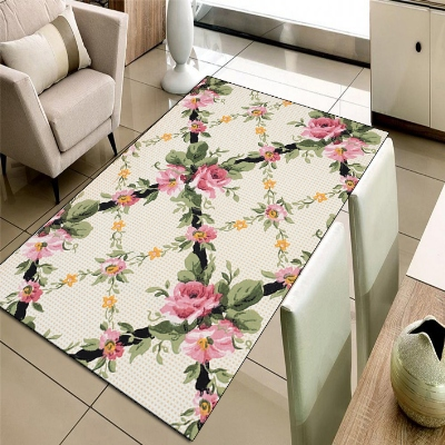Else Cream Floor Tiles Pink Flowers Green Leaf 3d Print Non Slip Microfiber Living Room Decorative Modern Washable Area Rug Mat
