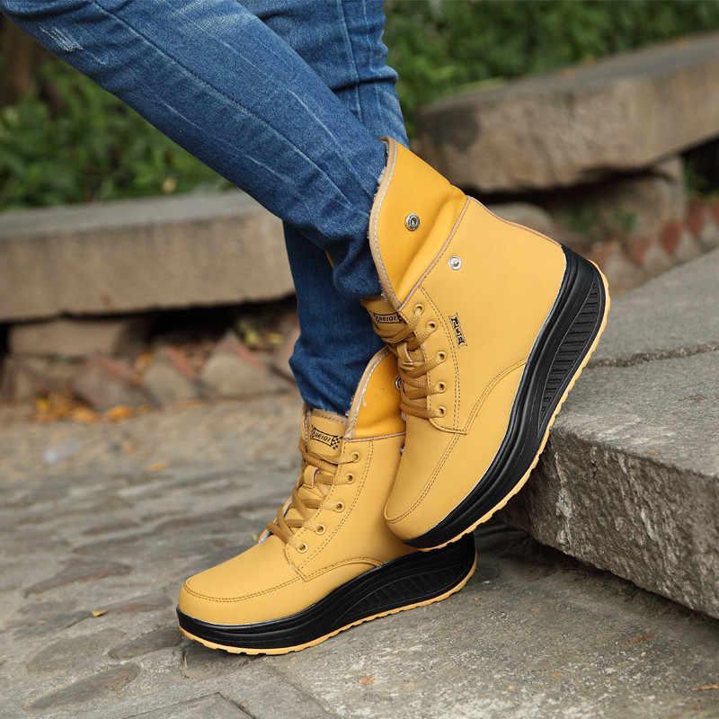 PINSEN Phụ Nữ Khởi Động Với Lông Mùa Đông Khởi Động Mắt Cá Chân Nêm Phụ Nữ Giày Dép Ấm Khởi Động Tuyết Thời Trang Chất Lượng Cao Lông Giày Femal giày dép