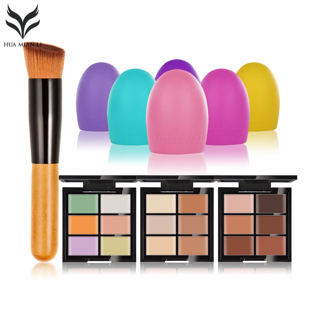 Natural Professional Concealer Palette makeup Foundation Facial Face Cream Palettes Cosmetic With Oblique head brush Scrubber