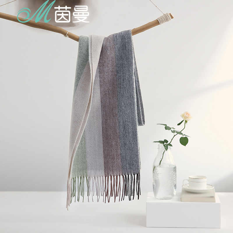INMAN Spring Autumn And Winter Female Wool Korean Wild Models Student Thick Long Section Dual-use Shawl Scarf