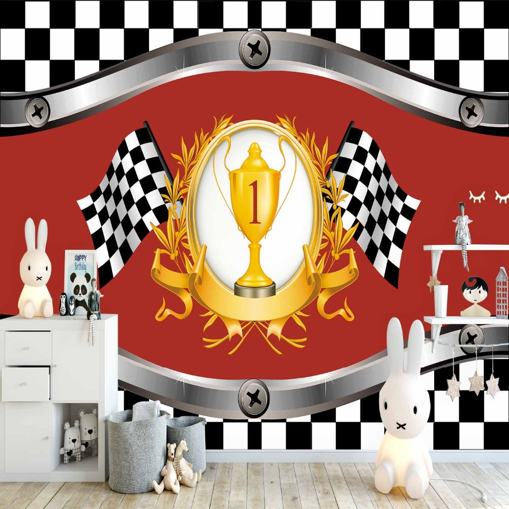 Else Black White Race Flag Winner Cup Red Floor 3d Print Cartoon Cleanable Fabric Mural Kids Children Room Background Wallpaper