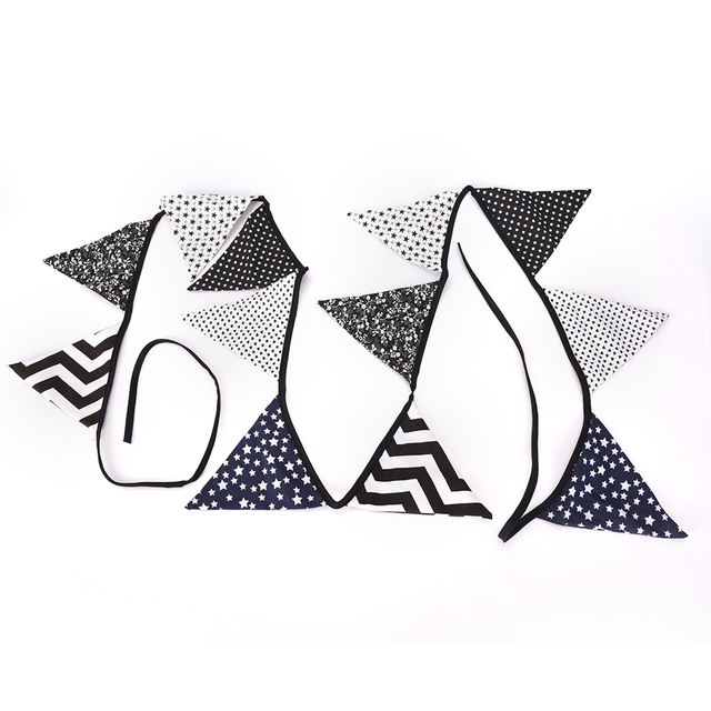 Black and White Pennant Flags Garland 12 Flags Fabric Cotton ...