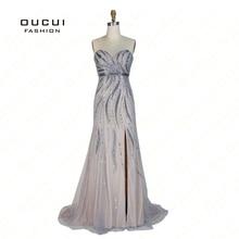 Real Photos Tulle Illusion  Handmade Mermaid Sweetheart Long Evening Dress High Split Full Crystal  OL103031